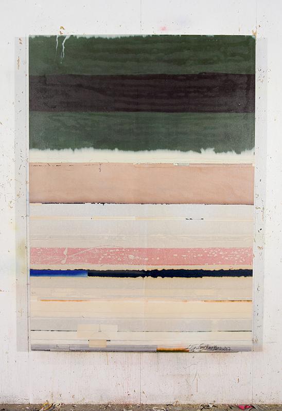 Original Color, 2017 Bleichmittel auf farbigem Stoff / Bleaching agent on colored fabric 180 x 120 cm